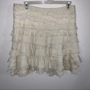 Dondup Tiered 100% Cotton Cream Color MIDI Skirt.